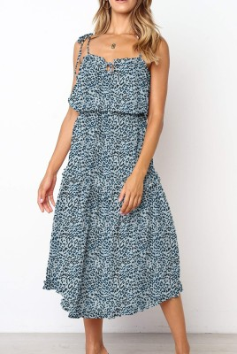 Blue Leopard Irregular Slip Dress with Belt