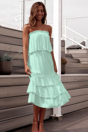 Light Green Off Shoulder Layered Dress 2 Piece Sets