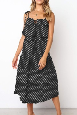 Black Dot Print Irregular Slip Dress with Belt