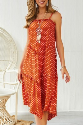 Orange Dot Print Irregular Slip Dress with Belt