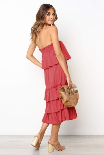 Red Off Shoulder Layered Dress 2 Piece Sets XCCF1859
