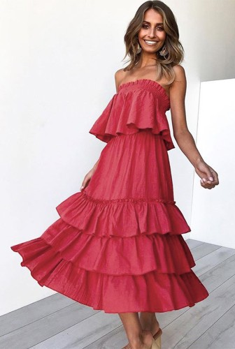 Red Off Shoulder Layered Dress 2 Piece Sets