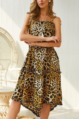Leopard Irregular Slip Dress with Belt