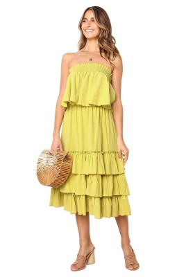 Yellow Off Shoulder Layered Dress 2 Piece Sets