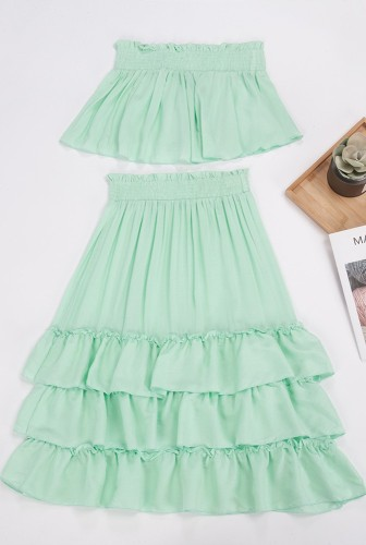 Light Green Off Shoulder Layered Dress 2 Piece Sets XCCF1859