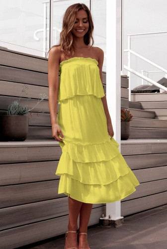 Yellow Off Shoulder Layered Dress 2 Piece Sets XCCF1859