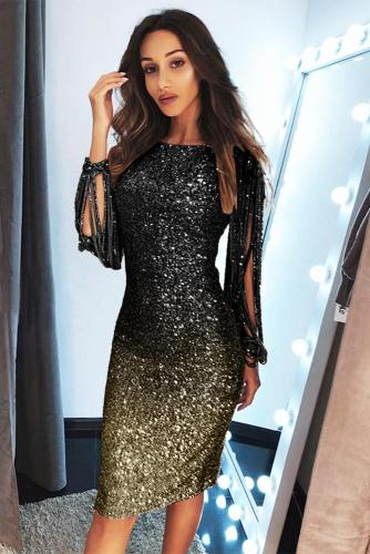 Black Ombre Sequin Tassel Sleeve Bodycon Evening Dress