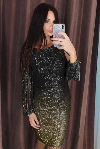 Black Ombre Sequin Tassel Sleeve Bodycon Evening Dress LC611528