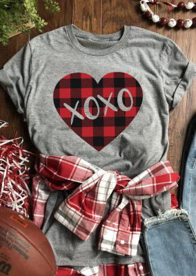 Grey Heart Print Plaid XOXO Valentine Top