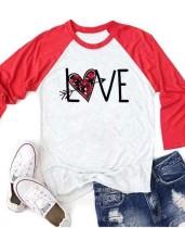 White Love Print Plaid Three Quarter Sleeve Valentine Top