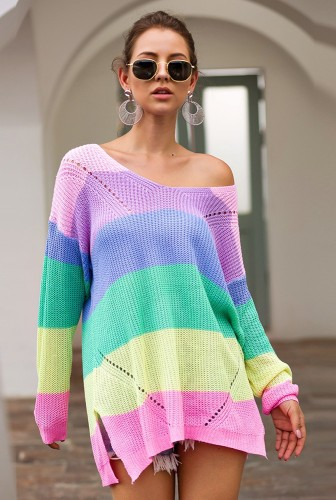 Pink Rainbow Colorblock Knitted Sweater
