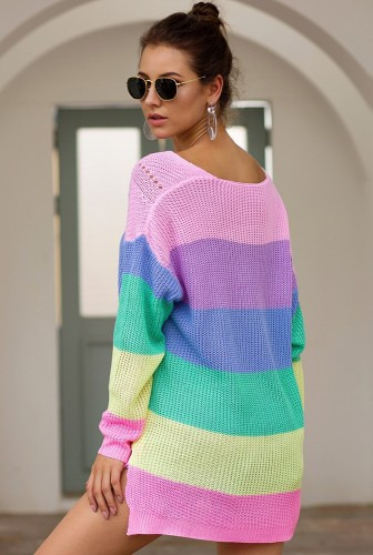 Pink Rainbow Colorblock Knitted Sweater XCVD3087