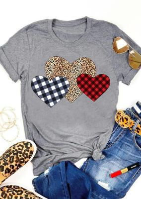 Grey Plaid Leopard Heart Valentine's Day Top