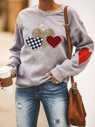 Grey Plaid Leopard Heart Print Valentine's Day Top