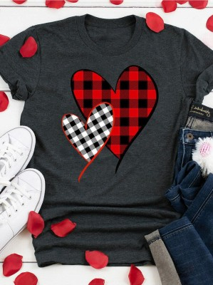 Grey Heart Shaped Plaid Valentine's Day Top