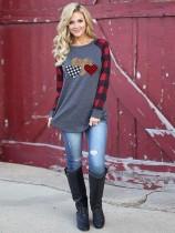 Grey Heart Leopard Plaid Sleeve Top