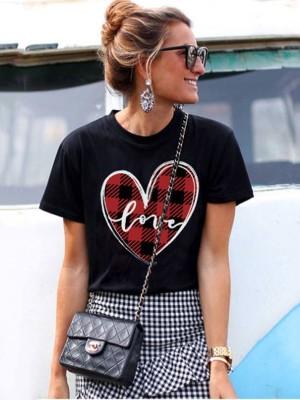 Black Love Heart Plaid Valentine's Day Top