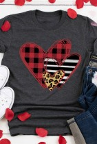 Grey Leopard Plaid Heart Valentine's Day Top