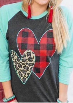Grey Leopard Plaid Heart Valentine's Day Top