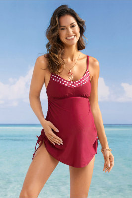 Red Tank Top Maternity Swimsuit with Panty