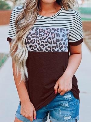 Dark Brown Striped Leopard Plus Size Top