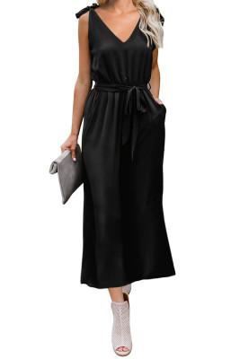 Black Bowknot Shoulder Straps Jersey Dress with Belt