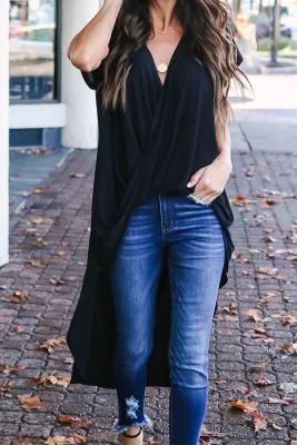 Black Stylish Drape High Low Top