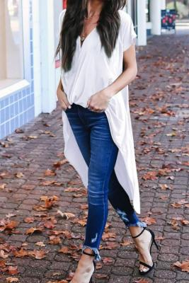 White Stylish Drape High Low Top