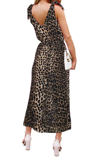 Leopard Bowknot Shoulder Straps Jersey Dress with Belt LC611615