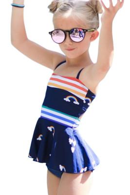 Rainbow Stripes Print Peplum Little Girls Swimsuit