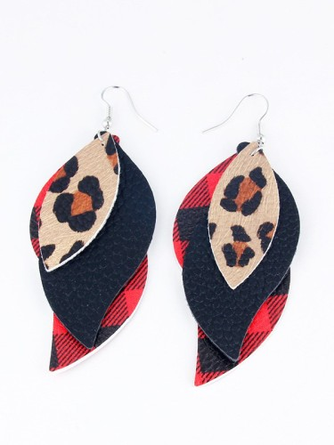 Leopard Layered Sequin Leaves PU Earrings