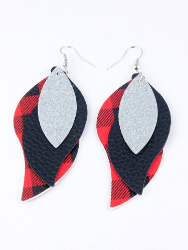 Leopard Layered Sequin Leaves PU Earrings GJ459
