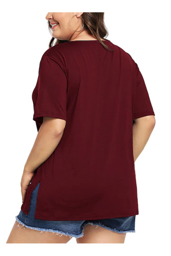 Burgundy Plus Size Short Sleeve Solid T Shirt 5663
