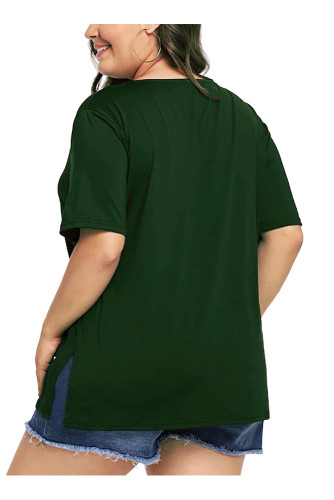 Green Plus Size Short Sleeve Solid T Shirt 5663