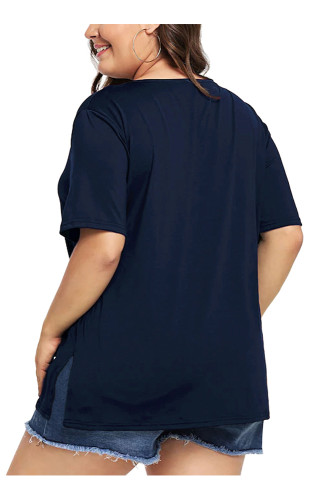 Navy Plus Size Short Sleeve Solid T Shirt 5663