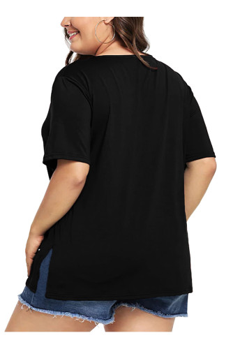 Black Plus Size Short Sleeve Solid T Shirt 5663