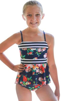 Blue Navy Floral Print Peplum Little Girls Swimsuit