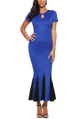Blue Short Sleeve Mermaid Long Bodycon Dress