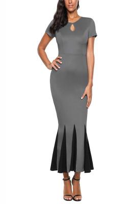 Grey Short Sleeve Mermaid Long Bodycon Dress