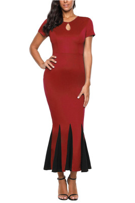 Red Short Sleeve Mermaid Long Bodycon Dress