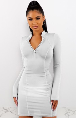 White Front Zip Up Bodycon Dress
