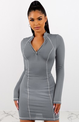 Grey Front Zip Up Bodycon Dress