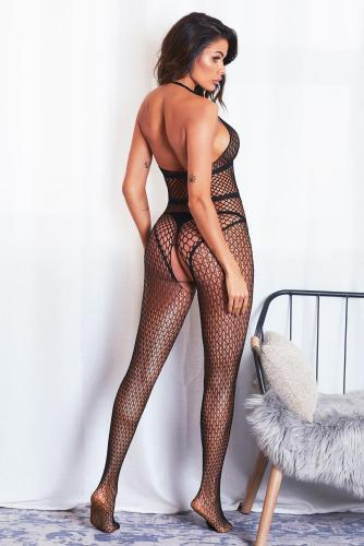 Halter Neck Open Back Netted Bodystocking LC790089