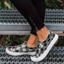 Black Plaid Canvas Shoes