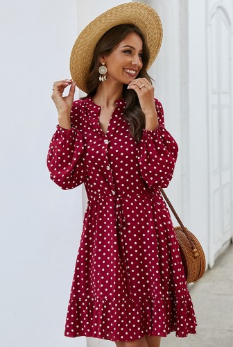 Red Dot Printed Dress with Button XC412
