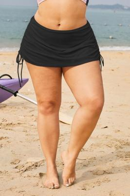 Black Ruched Side Plus Size Beach Swim Bottom