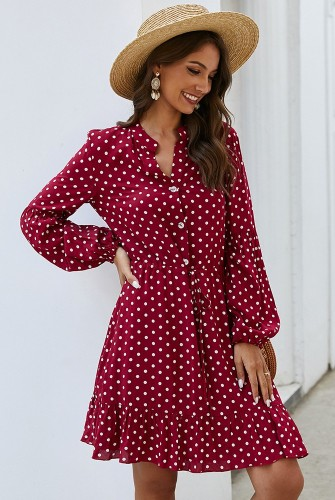 Red Dot Printed Dress with Button