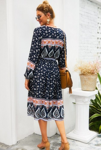 Navy Floral V Neck Buttoned Dress XC420
