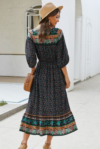 Black Boho Floral Printed Dress XC414