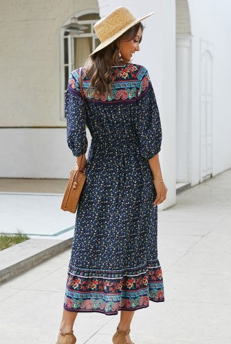 Navy Boho Floral Printed Dress XC414